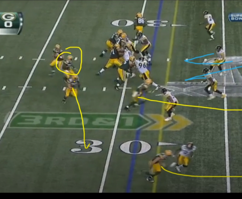 A middle screen turns into a go-route TD in Super Bowl XLV
